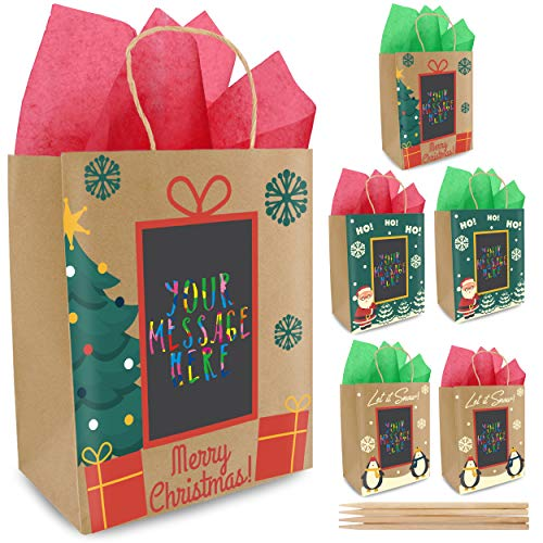 6 Christmas Gift Bags with Scratch Paper Panel for Personalized Messages - 3 Different Designs, Red & Green Tissue Paper Included! Unique Holiday Kraft Paper Gift Bags   Amazing for Wrapping Presents! (10 Christmas Under For Gifts)