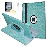 iPad 9.7 2018/2017 Case, JYtrend Rotating Stand Smart Magnetic Auto Wake Up/Sleep Cover For iPad 5th/6th Gen A1893 A1954 A1822 A1823 MP252LL/A MP2E2LL/A.MR7G2LL/A MR702LL/A (Embossed Blue Flower)