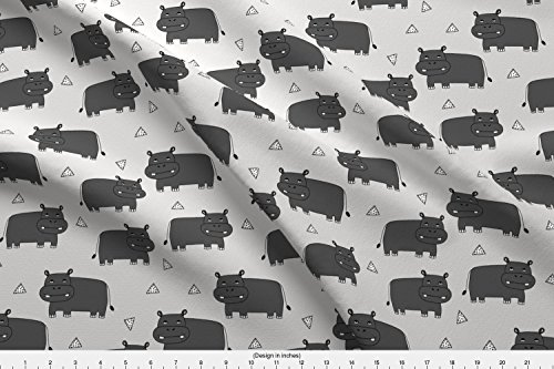 Spoonflower Andrea Lauren Fabric - Hippo Triangle Kids Nursery Boy Monochrome by Andrea Lauren Printed on Kona Cotton Ultra Fabric by The ()