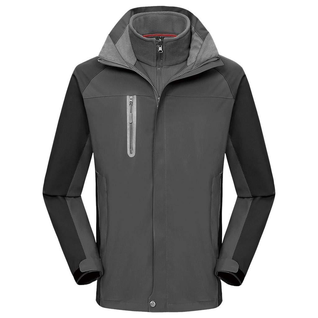 Xesvk Women Men Couples Autumn Winter Sport Outdoor Windbreaker Thick Warm Jacket Coat Gray by Xesvk Men tops