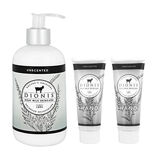 Dionis Goat Milk Body Lotion and Hand Cream 3 Piece Gift Set – Unscented