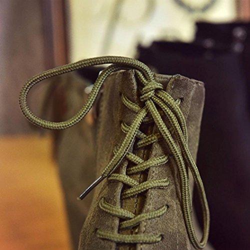 TPulling Herbst Winter Schuhe Mode Stylische Frau Dick Mit Hochhackigen Martin Stiefeln Zeigte Matte Stiefel Armee Grün