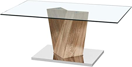 Lpd Alpha Glass Top Coffee Tables With Oak Or Marble Effect Stand Oak Amazon Co Uk Kitchen Home