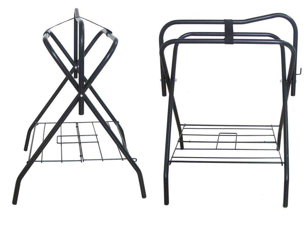 Two Floor Saddle Racks Stand Folding Storage Metal Black Saddle Tack Stable by AJ Tack Wholesale
