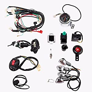 51UWIJTIJ7L._SY300_ amazon com full electric start engine wiring harness loom 110cc 110cc wiring harness at bayanpartner.co
