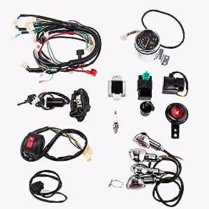51UWIJTIJ7L._SY300_ amazon com full electric start engine wiring harness loom 110cc 110cc wiring harness at alyssarenee.co