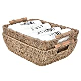 StorageWorks Hand-Woven Wicker Baskets, Seagrass Decorative Baskets with Wooden Handles, Large, 14.6