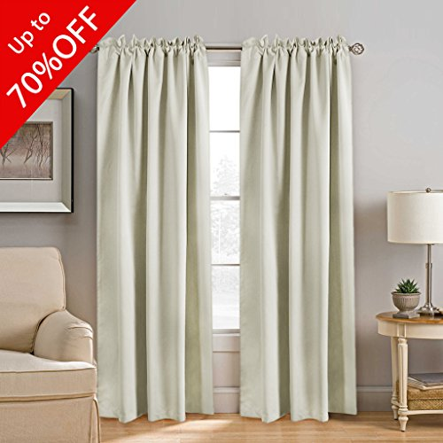 Treatments Window Panel (H.VERSAILTEX Blackout Curtains Room Darkening Drapes Thermal Insulated Solid Window Treatment Pair for Bedroom, Nursery, Living Room - 2 Panels, 52x84 Inch, 7 Back Loops Each Panel (Solid Cream))