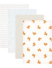 Flannel 4 Piece Receiving Blankets, Fox