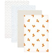 Luvable Friends Flannel 4 Piece Receiving Blankets, Fox