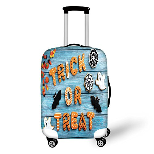Travel Luggage Cover Suitcase Protector,Vintage Halloween,Trick or Treat Cookie Wooden Table Ghost Bat Web Halloween,Blue Amber Multicolor,for -
