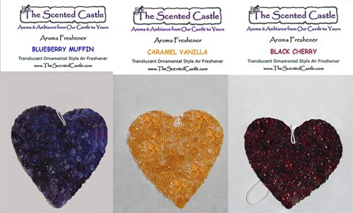 3 Pack Heart Car Air Fresheners - Blueberry Muffin, Caramel Vanilla, Black Cherry by The Scented Castle