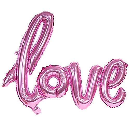 (Love Pink Balloon - Romantic, Pink Foil, self-Inflating Extra Large Script Love Wedding Valentine's)
