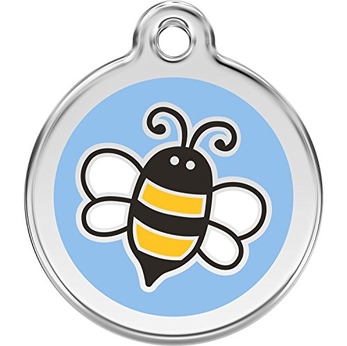 Red Dingo Personalized Bumble Bee Light Blue Pet ID Dog Tag (Small)]()
