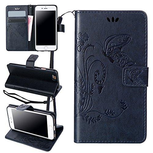 ZeWoo Folio Ledertasche - LD106 / dunkelblau - für Apple iPhone 5 5G 5S / iPhone SE (4 Zoll) PU Leder Tasche Brieftasche Case Cover