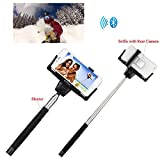 Getwow(TM) Extendable Self-portrait Wireless Bluetooth Remote Camera Shooting Shutter Monopod Selfie Handheld Stick Pole with Mount Holder and Super Clear Rear-camera Self-timer -- specially designed for Apple iPhone 6 Plus / 6 / 5s / 5c / 5 / 4s, Samsung Galaxy Alpha / S5 / S5 Active / S4 / S4 Mini / S3 / S3 Mini, Samsung Galaxy Note Edge / 4 / 3 (Black)