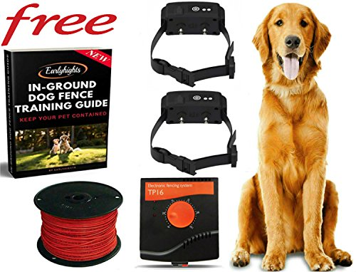 Underground Invisible Electric Outdoor Dog Fence Containment System,10 Acre Range 1000 Ft In Ground Wire, 2 Dogs Over 8 lb 100% Waterproof Rechargeable Wireless collar Free Earlyhights Training (Extra Boundary Kit 20 Gauge)
