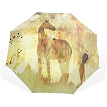Ye Store Paint Horse Folding umbrella Glass Fiber Umbrella Skeleton Nano Umbrella Cloth