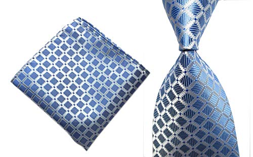 Blue Tie Silk Tonal (Men's Blue Silver Jacquard Woven Silk Tie Formal Wedding Necktie Standard Length)