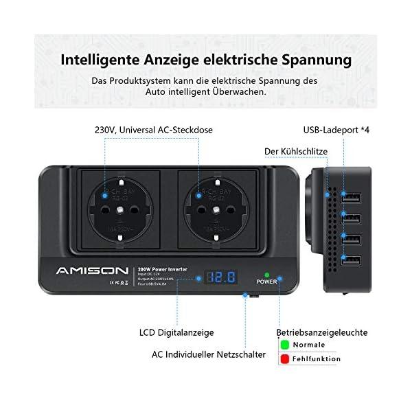 51UWJdBY GL 200W KFZ Wechselrichter, Amison Spannungswandler 12V auf 230V mit Smart echtzeitdarstellung LCD, 2 Steckdosen und 4 USB…