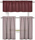 Home Maison Country Elegance 3 Pc. Plaid Check Kitchen Curtain Tier & Valance Set - Assorted Colors (Barn Burgundy)