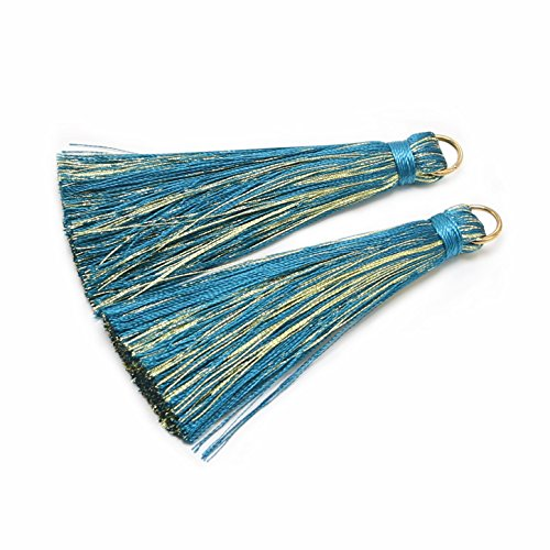 CHENGRUI 7.7CM Golden Loop Silk Tassels For Jewelry Making,Diy,Jewelry Accessories,Pack Of 6 Pcs