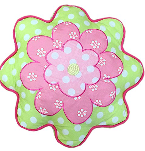 (Cozy Line Home Fashions Cute Flower Throw Pillow, Pink Green Embroidered Ladybug Print Pattern Stuffed Toy Doll Decorative Pillow for Kids, Girls (Flower, Decor Pillow - 1 Piece))