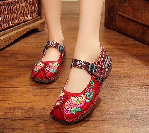 Lazutom Women Lady Cotton-Blend Chinese Style Embroidery Mary Jane Shoes Casual Walking Shoes Deep Red d5tHWIlan