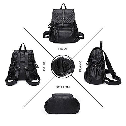 dos Cartable Noir Fanshu Naturel vintage cuir femme en Noir02 à style véritable sac AwPgZYw4q