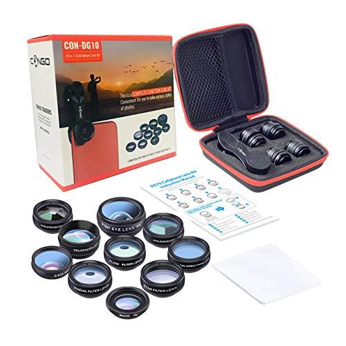 Congo 10 in 1 Cell Phone Camera Lens Kit Wide Angle Lens & Macro Lens+Fisheye Lens+Telephoto Lens+CPL/Flow/Radial/Star F