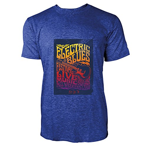 SINUS ART® Hippie Poster aus den 60ern und 70ern Herren T-Shirts in Vintage Blau Cooles Fun Shirt mit tollen Aufdruck