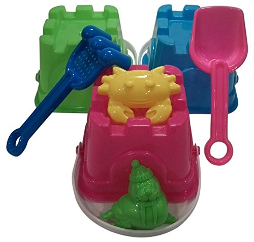 7 Piece Sand Castle Building Small Toy Set (3 Buckets, 4 Shovel Tools)