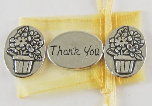 - Set of 3 Flower Basket Thank You Inspiration Coins with Organza Bag