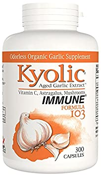 Kyolic Aged Garlic Extract Formula 103 Immune Formula 300 Capsules Odorless Organic Garlic Supplement with Astralagus Vitamin C, Soy- Gluten-Free, Gentle on the Gut Garlic Pills