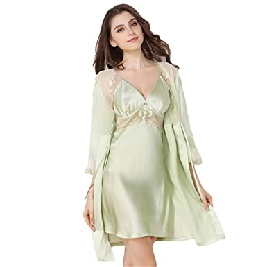 af7a622e46 Onlygiftsu Nightgowns Green Robe 100% Silk Sling Pajamas Two Sets of Women  Summer Lace Embroidered