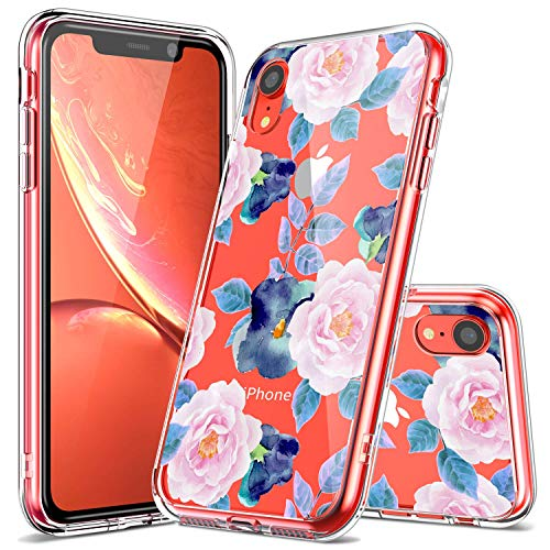 iPhone XR Case, LUHOURI iPhone XR Clear Case, Girls Women Heavy Duty Protective Hard PC Back Case with Shockproof Slim TPU Bumper Cover Phone Case for iPhone XR, Pink Blue Flower