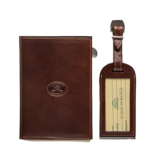 - Tony Perotti Leather Passport Case Holder and Luggage Tag Combo Gift Set Brown