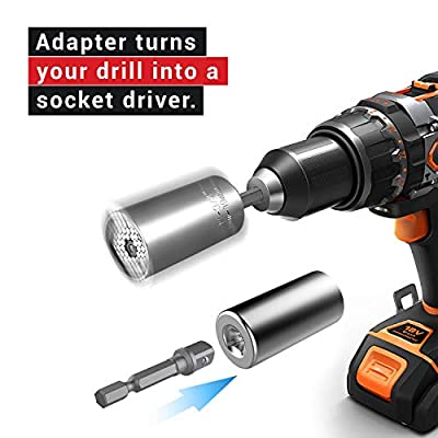 Universal Socket Grip (7-19mm) Multi-Function Ratchet Wrench Power Drill Adapter 2pc Set - Great Gift for DIY Handyman