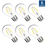 HyperSelect A19 Filament LED Bulb 3W, Non-Dimmable 40W Equivalent Vintage Bulb, 2700K (Warm White Glow), Omnidirectional, E26 Base, CRI 80+, 120v, UL-Listed - (Pack of 6)