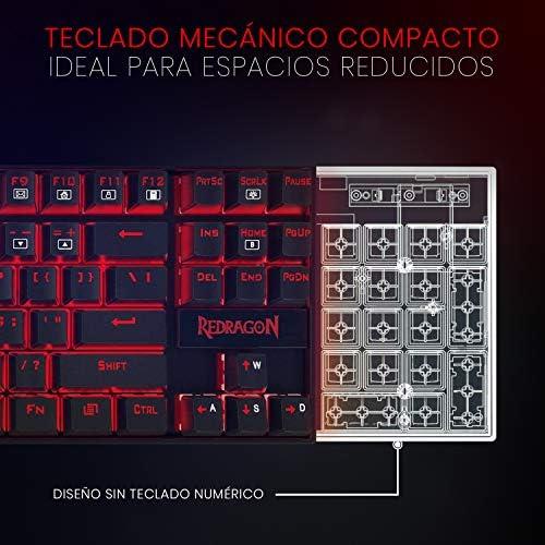 Redragon K552RGB KUMARA Teclado Mecánico Tenkeyless para Windows PC, Switch Red, Interruptores Rojos, reforzado, Retroiluminado RGB Distribución ...