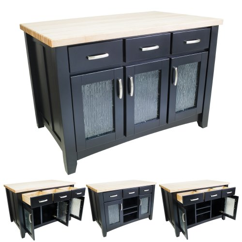Lyn Design ISL07-BLK Kitchen Island without top - Black