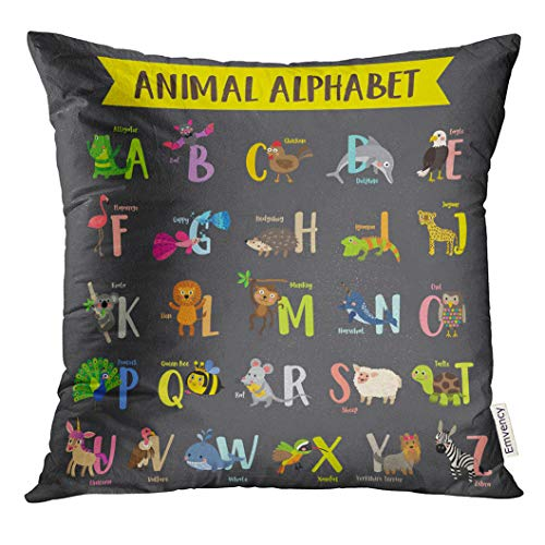 Emvency Throw Pillow Cover Kid Cute Colorful Children Zoo Z Alphabet Learning English Vocabulary with Dark Animal Decorative Pillow Case Home Decor Square 20x20 Inches Pillowcase