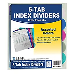 C-Line Polypropylene Binder Index Dividers with Double-Sided Slant Pockets, One 5-Tab Set, Assorted Colors (05750)