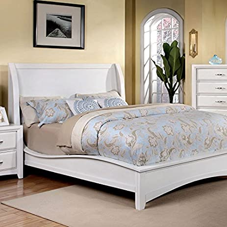 Elegant Bradbury Contemporary Style White Finish Eastern King Size Bed Frame Set