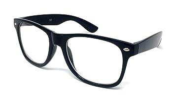 Großhandelspreis Shop für Beamte neueste Kollektion Nerd Brille ohne Stärke Brille im Wayfarer Stil mit Klarglas Rahmen und  Bügel schwarz9226670751009