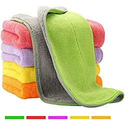 5 Extra Thick Microfiber Cleaning Cloths with 5 Bright Colors, Super Absorbent Dust Cloths Buffing Cloths with Two Color on Two Side, Lint Free Streak Free for Tackling Any Cleaning Job with Ease