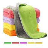 6 Pack Assorted Colors Microfiber Cleaning Cloths - 6' x 7' Microfiber Glasses Cloth - Great for Cleaning Eyeglasses, Cell Phones, Screens, Lenses, Glasses, Screens and All Delicate Surface