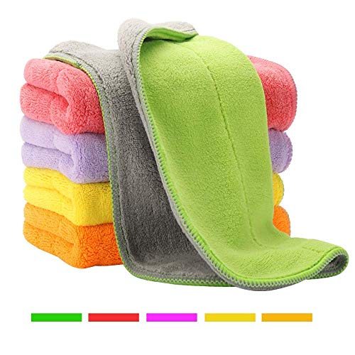 (5 Extra Thick Microfiber Cleaning Cloths with 5 Bright Colors, Super Absorbent Dust Cloths Buffing Cloths with Two Color on Two Side, Lint Free Streak Free for Tackling Any Cleaning Job with Ease)