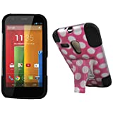 Maxtron Rugged Hybrid Hard T-Stand Dual Armor Case with Screen Proctor for Motorola Moto G XT1032 - Retail Packaging - Pink Dots