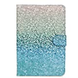 iPad Mini 2 Case, TIPFLY Flower Bling Crystal Diamond Pattern PU Leather with [Card/Cash Slots] Magnetic Folio Flip Stand Case Cover for Apple iPad Mini /Mini 2 /Mini 3 Tablet(Blue Glitter Beach Sand)
